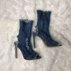 PrettyLittleThing Shoes - Denim open toe booties